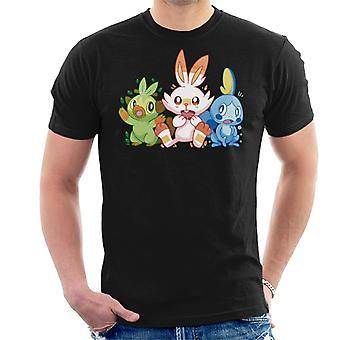 Pokemon Starters Scorbunny Sobble Grookey T-Shirt voor mannen