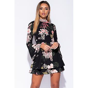 Fit and Flare Floral Print Frill Dress