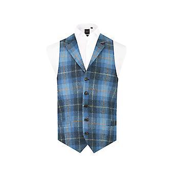 Skotsk Harris Tweed Herre blå check Tweed veste Regular fit 100% uld notch revers