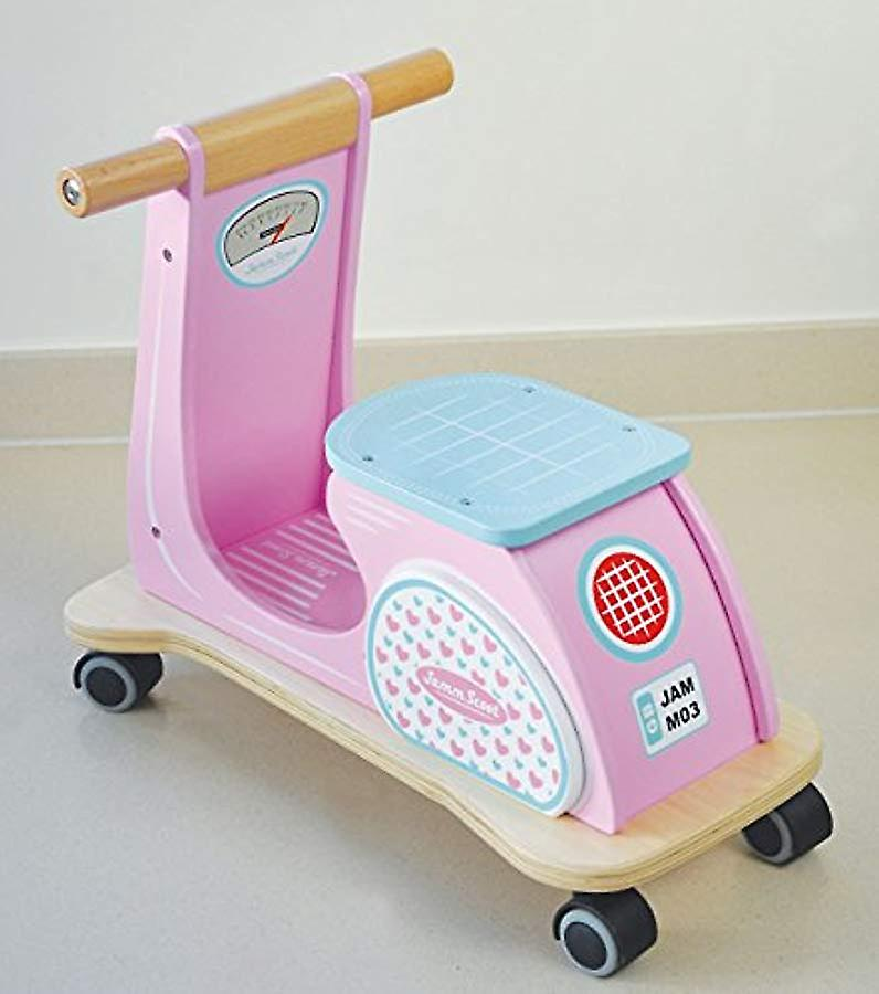 Indigo Jamm Wooden Jamm Scoot, Ride-On Scooter Toy with Retro Classic Design for Children Aged 12 Months Plus � Pink Racer