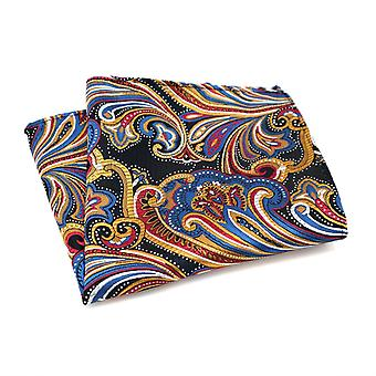 Yellow blue & red east asia patterned pocket square