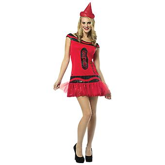 Womens Crayola Crayon Red Glitter Hen Party Group Fancy Dress Costume