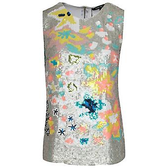 Marie Mero Sleeveless Floral Sequin Detail Top