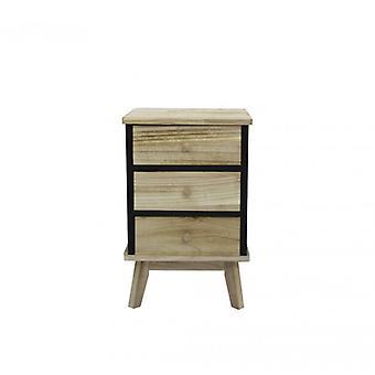 Meubelen Rebecca Comodino 3 zwart houten lades ontwerp 57x37x32