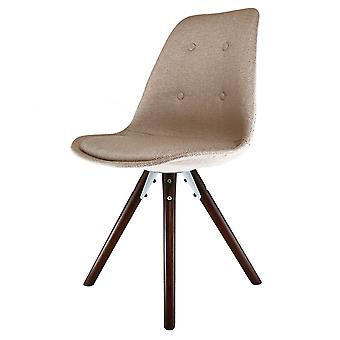 Fusion Living Eiffel Inspiré Beige Fabric Dining Chair with Pyramid Dark Wood Legs