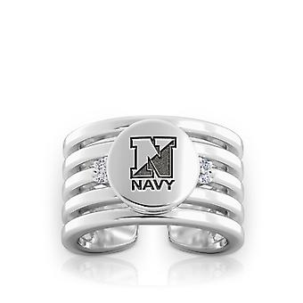 Us Navy Gegraveerd Sterling Silver Diamond Multiband Manchetboei Ring