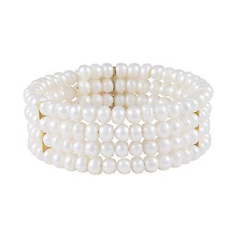 Ikuinen kokoelma prinsessa Valkoinen makeanveden Pearl Bangle (kultaa)