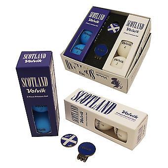 Volvik Vivid Patriot Pack Golf Balls Ball Marker & Hat Clip Scotland
