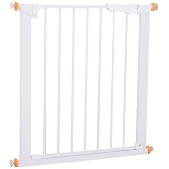 PawHut Adjustable Pet Safety Gate Dog Cat Kids Barrier Home Fence Room Divider Stair Guard Mounting White (74.9H x 73-80W cm)