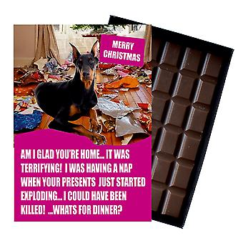 Doberman Funny Christmas Gift For Dog Lover Boxed Chocolate Greeting Card Xmas Present