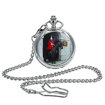 Boxx Gents White Dial, London Horse Guard Cover Design, Silvetone Metal Case Pocket Watch and Chain BOXX413