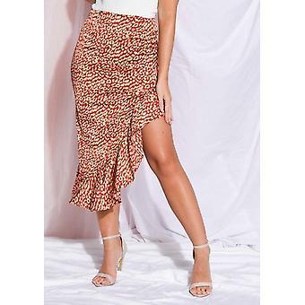 Luipaard print franje asymmetrische rok rood