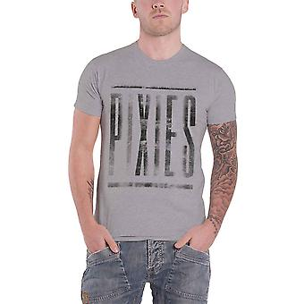 Pixies T Shirt Dirty Band Logo distressed Surfer Rosa new Official Mens Grey