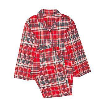 Minijammies 5514 Girl's Belle Red Mix Check Cotton Pyjama Set