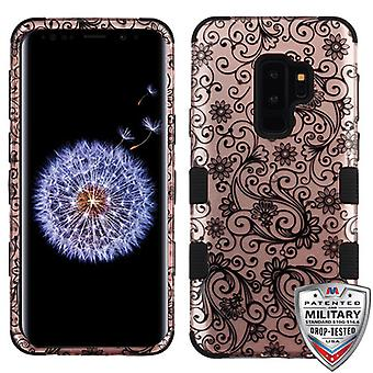 MYBAT Black Four-Leaf Clover (2D Rose Gold)/Black TUFF Hybrid Phone Protector Cover for Galaxy S9 Plus