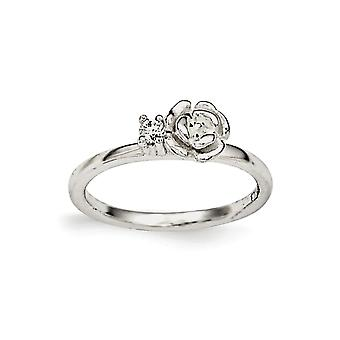925 Sterling Silver Polished Clear CZ Cubic Zirconia Simulated Diamond Rose Kids Ring - Ring Size: 3 to 4