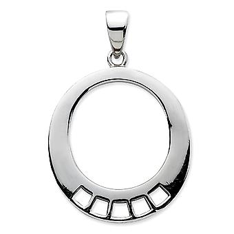 925 Sterling Silver Polished Rhodium plated Oval Shaped Charm Carrier Pendant Necklace Measures 33x22mm Jewelry Gifts fo
