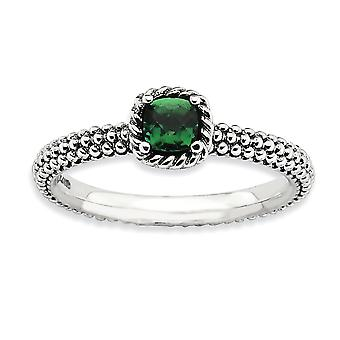 2.25mm 925 Sterling Silver Prong set finish Stackable Expressions Polished Created Emerald Ring Jewelry Gifts for Women