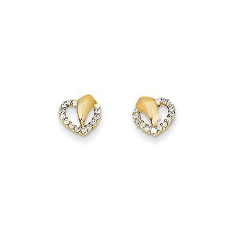 14k Yellow Gold Polished CZ Cubic Zirconia Simulated Diamond Love Heart Post Earrings Jewelry Gifts for Women