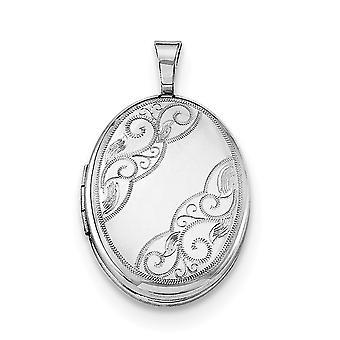 925 Sterling Silber poliert gemustert hält 2 Fotos Seite Wirbel 19mm ovale Medaillon Schmuck Geschenke für Frauen