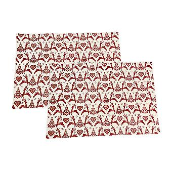 Dexam Yuletide Fabric Placemats, Red on Cream