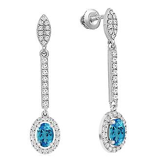 Dazzlingrock Collection 10K 7X5 MM Each Oval Blue Topaz & White Diamond Ladies Dangling Drop Earrings, White Gold