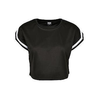 Urban Classics kvinnors T-shirt kort utökade axel ränder mesh