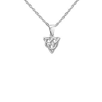 "Celtic Holy Trinity Knot Triangular Shape Necklace Pendant - Includes A 22"" Silver Chain"