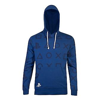 Ícones da Sony Playstation All-over Print Hoodie Male Large Blue (HD000508SNY-L)