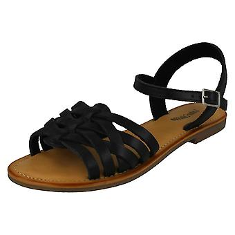 Ladies Leather Collection Flat Strappy Sandals F00200