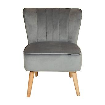 Charles Bentley Velvet Tapicerowane Plinted Retro Wingback Occasion /Lounge/Hallway/Bedroom Chair Grey