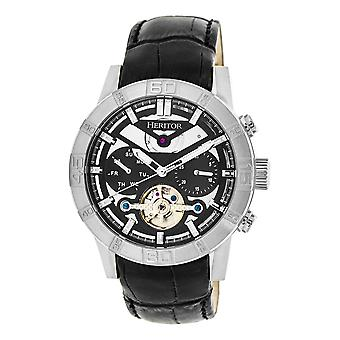 Heritor Automatic Hannibal Semi-Skeleton Leather-Band Watch-Silver/Black