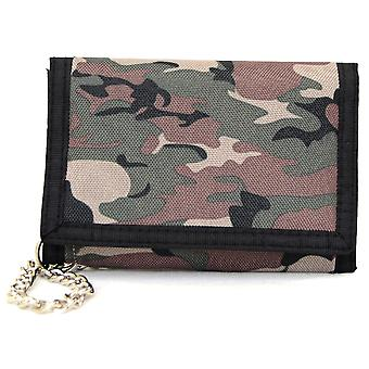 Mens / Boys Army Camouflage Velcro Wallet with Chain  - Light Army