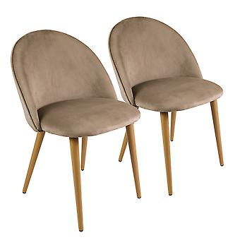 Charles Bentley Pair of Soft Velvet Kitchen/Lounge Dining Chairs with Beech Wood Effect Legs Taupe H80xW54xD56