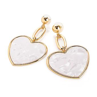 Gold Colour White Marble Effect Heart Design Drop Earring