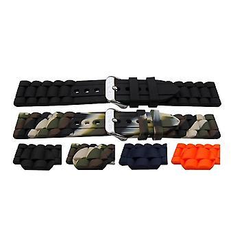 Gummi-Uhr Armband Armband Link Stil schwarz, Camo, blau und orange mit Edelstahl Schnalle