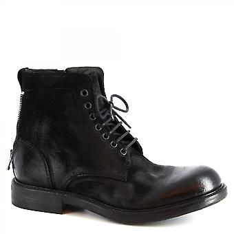 Leonardo Shoes Men's handmade lace-ups ankle boots black suede leather side zip
