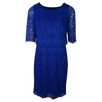 Michaela Louisa Royal Blue Three Quarter Sleeve Lace Overlay Dress