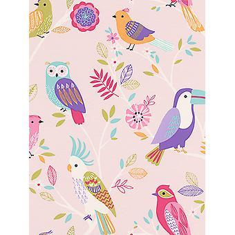 Birds Wallpaper Pink Rasch 293012