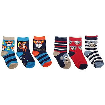 Baby Boys Monkey Design Cotton Rich Socks (Pack Of 3)
