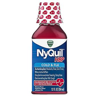 Nyquil hbp cold and flu liquid, cherry flavor, 12 oz
