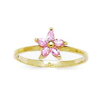 14k Jaune Or Rose CZ Cubic Zirconia Simulated Diamond Size 3 Ball Drop pour les garçons ou les filles Baby Ring