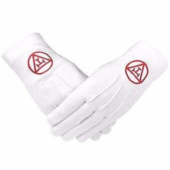 Masonic royal arch 100% cotton gloves with machine embroidery 2 x pair