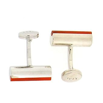 925 Silver Barrel Shaped Orange Stripe Cufflinks By TOC