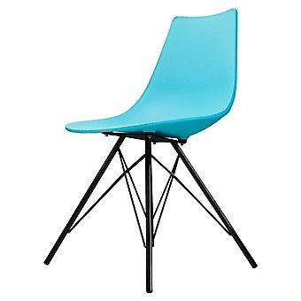 Fusion Living Iconic Pearl Blue Plastic Dining Chair With Black Metal Legs