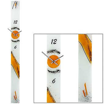 AMS 9373 Wall clock Quartz analog orange modern narrow elongated handmade