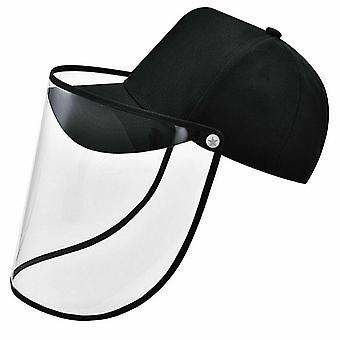 Black Unisex Anti-saliva Protective Baseball Hat Cap and Face Shield Transparent Cover