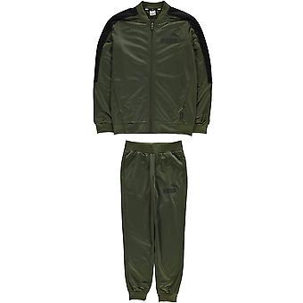 Puma No.1 Logo Baseball Collar Kids Sports Tracksuit Suit Set Khaki/Black