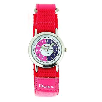 Boxx Girls Time Teacher Analogue Pink & White Dial Easy Fasten Strap Kids Watch
