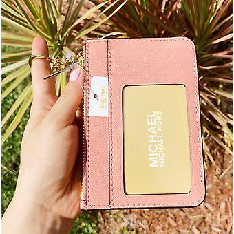 Michael kors jet set key ring top zip coin pouch id card holder wallet peach